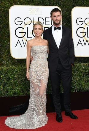 Chris Hemsworth is perfection in this black tux and varnished shoes at the Golden Globe ceremony this year.