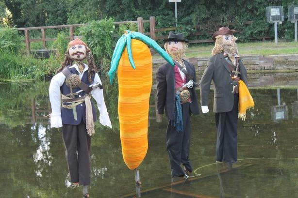 Scarecrows at a scarecrow festival