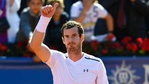 Andy Murray of Great Britain celebrates after his victory against Albert Ramos-Vinolas of Spain in the quarter-final on day five of the Barcelona Open Banc Sabadells.