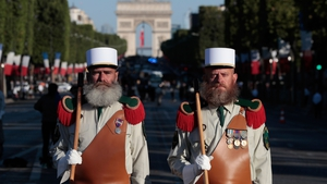 Pioneers of the French Foreign Legion prepare to take part in the parade