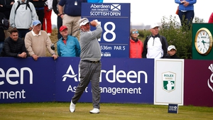 Darren Clarke recorded three  double-bogeys in the final three holes of his opening round at the Scottish Open
