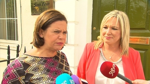 Michelle O'Neill (R) pictured with Sinn Féin leader-elect Mary Lou McDonald last summer