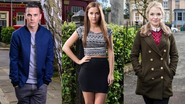 Steven (Aaron Sidwell), Lauren (Jacqueline Jossa) and Abi (Lorna Fitzgerald) - New twist for fans