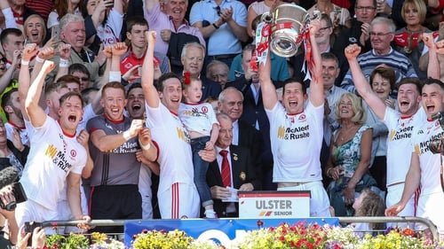 Sean Cavanagh of Tyrone lifts the cup