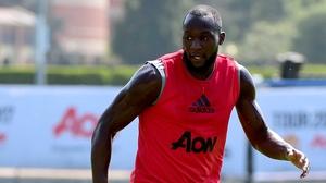 Romelu Lukaku in training with Manchester United