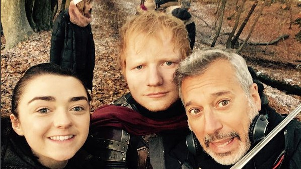 Game of Thrones star Maisie Williams, Ed Sheeran and director Jeremy Podeswa on set Pic: Ed Sheeran Instagram