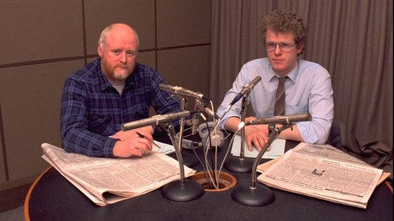 Morning Ireland presenters David Hanly and Cathal Mac Coille (1986)