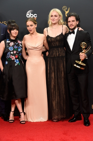 Maisie Williams, Emilia Clarke, Sophie Turner and Kit Harington, winners of Best Drama Series for 'Game of Thrones' Emmy 2016.
