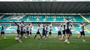 Linfield at a training session at Parkhead on Tuesday