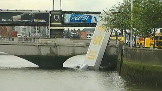 Lorry Lands In Liffey