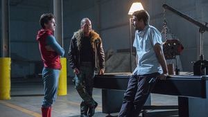 Jon Watts (right) on the Spider-Man: Homecoming set with stars Tom Holland and Michael Keaton