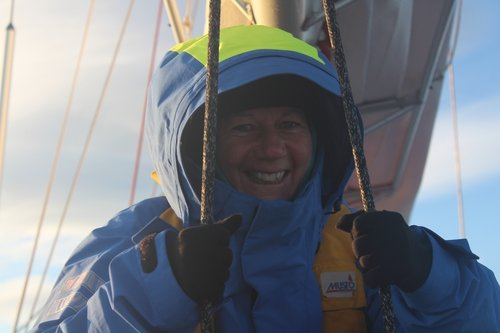 Aileen aboard Pelagic approaching South Georgia.