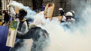Violence scenes in Caracas yesterday