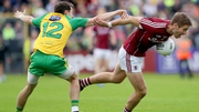 Gary O'Donnell (R) in action against Donegal
