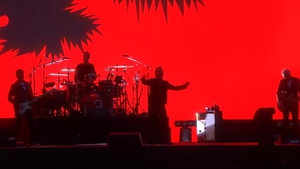 U2 under a blood red screen at Croke Park