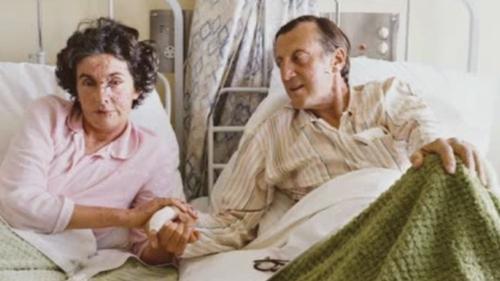 Patricia Knatchbull in hospital alongside her husband, John, in Sligo