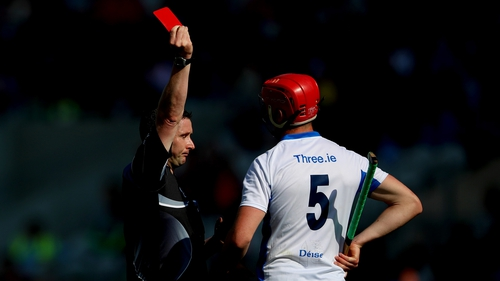 Tadhg de Búrca is dismissed by referee Fergal Horgan in the victory over Wexford in the All-Ireland quarter-final.
