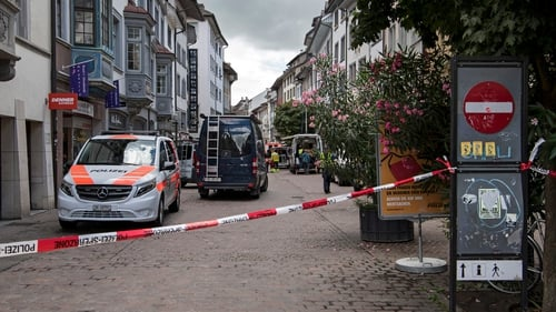 Police cordoned off part of the town