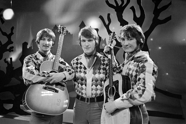 Emmet Spiceland traditional/folk group on the set of the RTÉ Television Christmas pantomime 'The True Story of Red Riding Hood