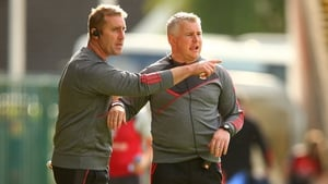 Mayo manager Stephen Rochford (R) and selector Peter Burke on the sideline