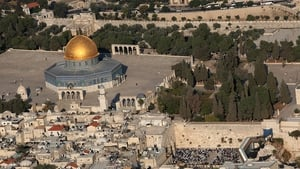 The Al-Aqsa mosque compound, Islam's third holiest shrine, and on the right side (below) the Western Wall, Judaism's holiest site