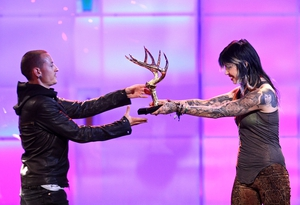 A firm fan favourite. Kat Von D presents an award to Chester at Spike TV's 2nd Annual 'Guys Choice' Awards in 2008