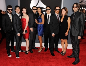 5 time Grammy nominees and 2 time Grammy winners. Brad Delson, Mike Shinoda, Chester Bennington, Joe Hahn, David 'Phoenix' Farrell and Rob Bourdon attend the 2010 GRAMMYS.