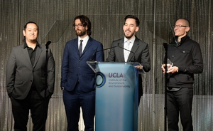 Joe Hahn, Brad Delson, Mike Shinoda, and Chester Bennington attend an Evening of Environmental Excellence presented by The UCLA Institute Of The Environment And Sustainability at Private Residence in