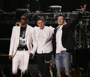 Jay-Z, Paul McCartney and Chester Bennington perform during the 48th Annual Grammy Awards in 2006