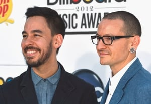 Linkin Park's Mike Shinoda and Chester Bennington arrive at the 2012 Billboard Music Awards