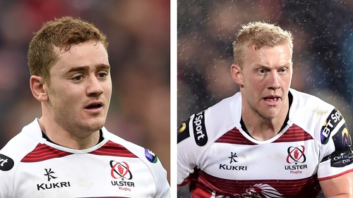 Paddy Jackson (L) and Stuart Olding have been relieved of their duties, according to Ulster Rugby and the IRFU