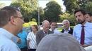 Eoghan Murphy speaks to local residents in Drogheda