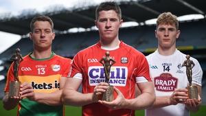 Carlow footballer Paul Broderick (L), Cork hurler Conor Lehane (C) and Kildare footballer Daniel Flynn