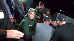 Justin Bieber at the scene of the accident Screengrab: SplashNews