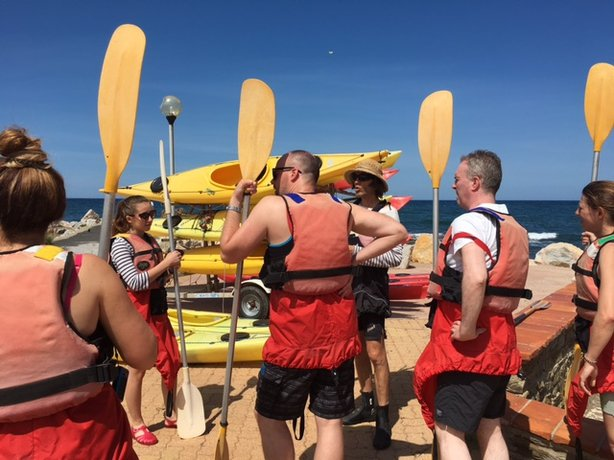Tadhg Peavoy gets some kayaking tips in Banyuls