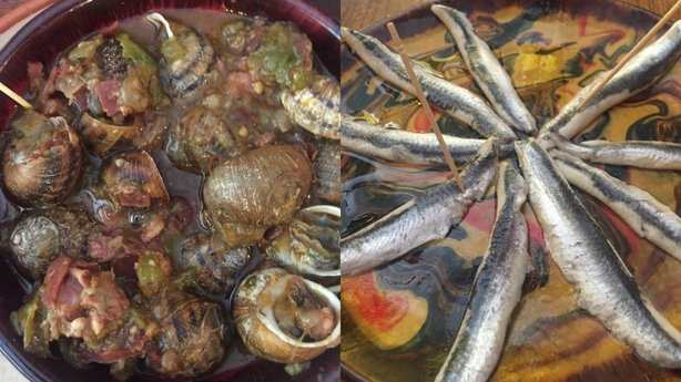 Snails and preserved anchovies at Casa Gala
