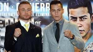 Carl Frampton (L) with Andres Gutierrez