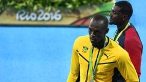 Usain Bolt and Justin Gatlin on the podium at last year's Olympics