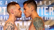 Carl Frampton (L) and Andres Gutierrez at today's weigh-in in Belfast
