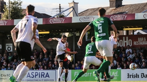 Gavan Holohan finds the net for Galway against Cork City in last season's Premier Division