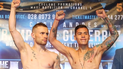 Carl Frampton (l) and Andres Gutierrez at Friday's weigh-in