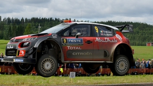 Craig Breen and Scott Martin compete in their Citroen Total Abu Dhabi WRT Citroen C3 WRC during Day Two of the WRC Finland