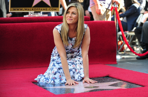 Jennifer Aniston with her Star on Hollywood's Walk of Fame