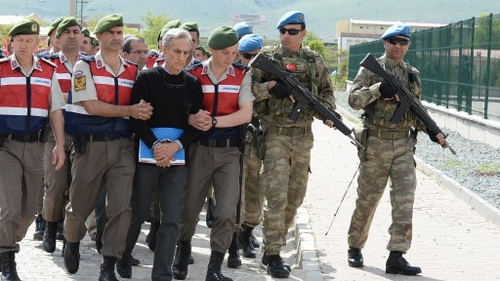 Turkish Gendarmerie escort defendants Akin Ozturk and others involved in last July's attempted coup