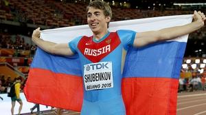 Sergey Shubenkov after winning 110 metres hurdles gold in 2015