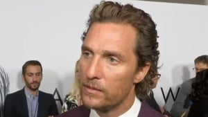 """Matthew McConaughey on the red carpet in New York - """"We lost one of the great ones. Great writer, great mind"""" Screen grab: Associated Press"""