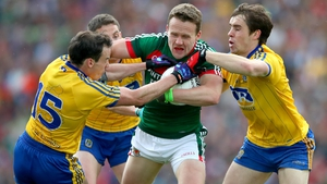 Andy Moran in action against Niall Kilroy, Fintan Cregg and Donal Murray on Sunday