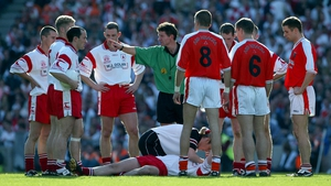 Referee Brian White ordering players away during the 2003 All-Ireland final