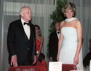 Actor Alec Guinness and Princess Diana at a gala dinner at the 40th Cannes film festival in 1987. Diana wore a stunning Catherine Walker gown.