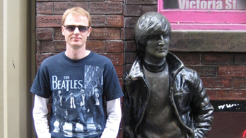 Death and the Beatles Fan author Stephen Kennedy and John Lennon (well, his statue) in Liverpool.